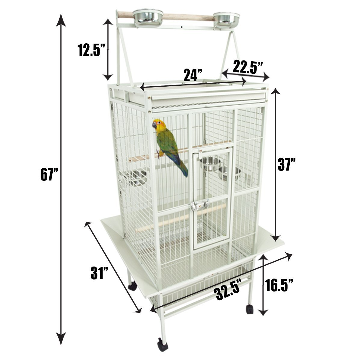 New Large Play Top Bird Cage for African Grey :
