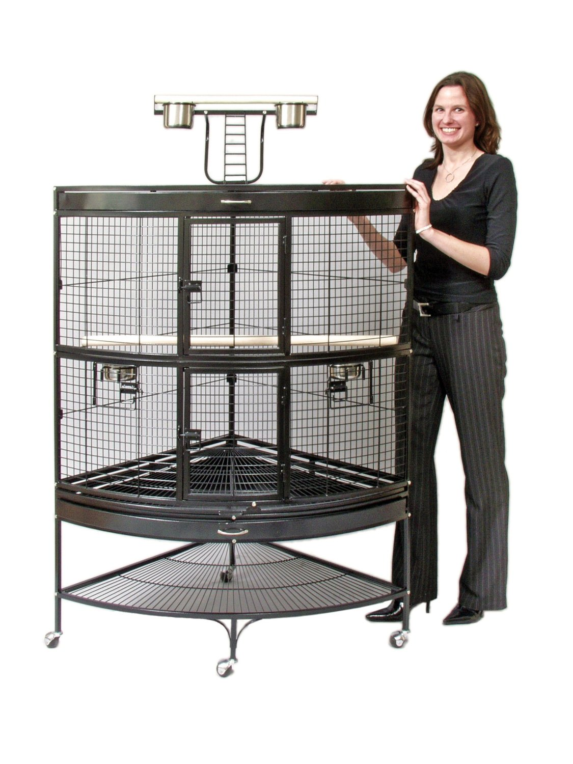 Our large corner cage saves space in your home while providing plenty of room for your bird Four stainless steel cups and two wood perches included Cage-top playstand adds to your birds living area Space saving shelf can be used to store toys, treats and more 45-Inch long, 30-inch wide, 69-inch high with 7/8-inch wire spacing