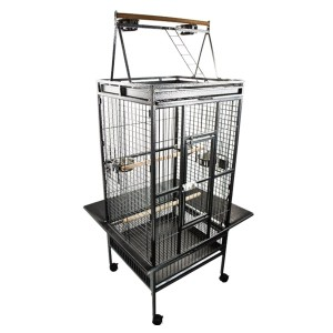 New Large Top Perch Ladder African Grey Parrot Cage, Include Seed Guard and Stainless Steel Cups